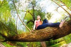 Muchacha hermosa que se sienta en árbol grande en el día soleado Imagenes de archivo