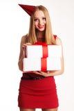 Muchacha hermosa que sostiene los regalos de cumpleaños Fotografía de archivo