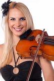 Muchacha hermosa que toca el violín Fotos de archivo