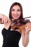 Muchacha hermosa que toca el violín Imágenes de archivo libres de regalías