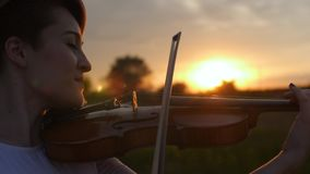 Muchacha hermosa que toca el violín en la puesta del sol almacen de video