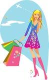 La muchacha está haciendo compras Imagenes de archivo