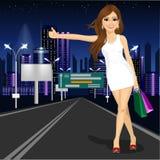 Muchacha hermosa que vota sobre el camino de ciudad de la noche ilustración del vector