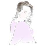 Muchacha hermosa - retrato del color stock de ilustración