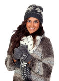 Muchacha hermosa vestida en la ropa del invierno Fotos de archivo libres de regalías