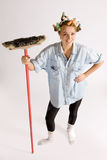 Muchacha houseworking Foto de archivo