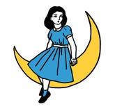 Muchacha ideal de la luna Foto de archivo libre de regalías
