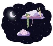 Muchacha iluminada por la luna con el conejo ilustración del vector