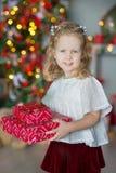 Muchacha impresionante linda que celebra la Navidad del Año Nuevo cerca del árbol de Navidad por completo de juguetes en vestidos Fotografía de archivo libre de regalías