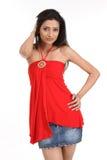 Muchacha india con la alineada roja Foto de archivo libre de regalías
