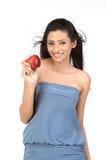 Muchacha india con la manzana Fotografía de archivo libre de regalías