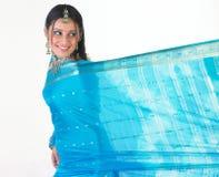 Muchacha india con la sari azul Imagen de archivo