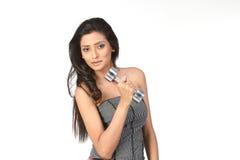 Muchacha india con las alarmas mudas Fotos de archivo