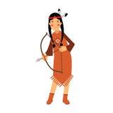 Muchacha india del nativo americano en tiro al arco tradicional del traje con un ejemplo del arco libre illustration