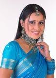 Muchacha india en la expresión feliz Imágenes de archivo libres de regalías