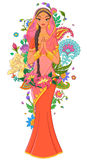 Muchacha india en la sari rodeada con las flores y los ornamentos Ilustración del vector aislada en el fondo blanco Fotos de archivo libres de regalías