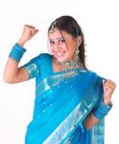 Muchacha india en un humor del éxito Foto de archivo libre de regalías