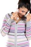 Muchacha india que habla sobre el teléfono Imagen de archivo