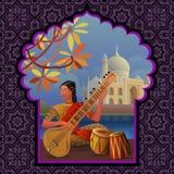 Muchacha india que juega el sitar cerca de Taj Mahal stock de ilustración