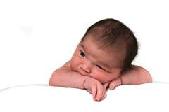 Muchacha infantil del bebé lindo en blanco Imágenes de archivo libres de regalías