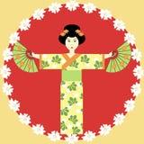 Muchacha japonesa con los ventiladores Imagen de archivo libre de regalías