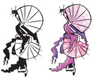 Muchacha japonesa con los ventiladores libre illustration