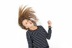 Muchacha joven de la belleza con volar el pelo marrón Fotografía de archivo libre de regalías