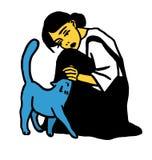 Muchacha joven de la bruja con el gato Fotografía de archivo libre de regalías