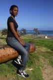 Muchacha joven del afroamericano en Puerto Plata Foto de archivo