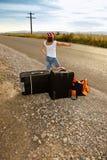 Muchacha joven del autostopista Fotos de archivo