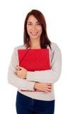 Muchacha joven del estudiante con la carpeta roja Fotos de archivo