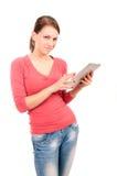 Muchacha joven del estudiante con PC de la tableta Imágenes de archivo libres de regalías