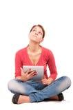 Muchacha joven del estudiante con PC de la tableta Imagen de archivo libre de regalías