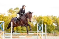 Muchacha joven del jinete del caballo en la competencia ecuestre Fotografía de archivo