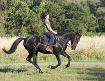 Muchacha joven del montar a caballo Fotos de archivo libres de regalías
