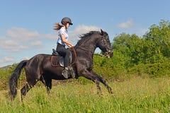 Muchacha joven del montar a caballo Imagen de archivo