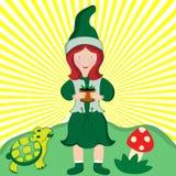 Muchacha joven del país con la planta de tiesto Ilustración del Vector