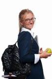 Muchacha joven feliz del estudiante con la mochila De nuevo a escuela Imágenes de archivo libres de regalías