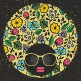 Muchacha joven y bonita principal negra con el vestido creativo del pelo stock de ilustración