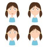 Muchacha linda con diversas emociones ilustración del vector