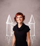 Muchacha linda con el ejemplo del dibujo del cohete del paquete del jet Fotografía de archivo