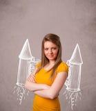 Muchacha linda con el ejemplo del dibujo del cohete del paquete del jet Fotos de archivo