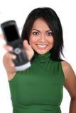 Muchacha linda con el teléfono celular imagenes de archivo