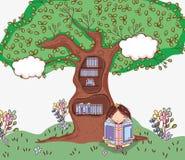 Muchacha linda con la biblioteca del árbol stock de ilustración