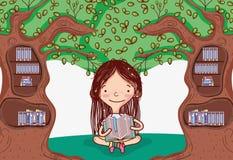 Muchacha linda con la biblioteca del árbol libre illustration