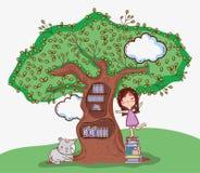 Muchacha linda con la biblioteca del árbol ilustración del vector