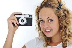 Muchacha linda con la cámara Fotos de archivo libres de regalías