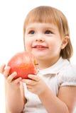 Muchacha linda con la manzana imágenes de archivo libres de regalías