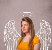 Muchacha linda con las alas ilustradas ángel Imagen de archivo libre de regalías