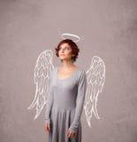 Muchacha linda con las alas ilustradas ángel Fotos de archivo libres de regalías